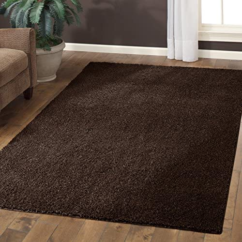 Area Rugs, Maples Rugs Made in USA Catriona 5 x 7 Non Slip Padded Large Rug for Living Room, Bedroom, and Dining Room – Brown Suede