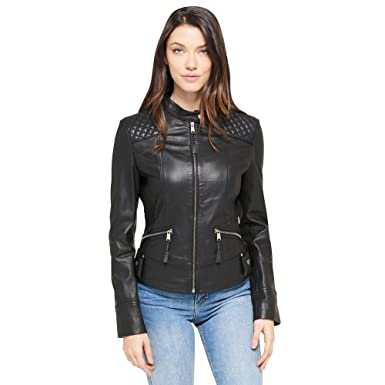 7209a057b Wilsons Leather Womens Center Zip Quilt Shoulder Leather Jacket W ...