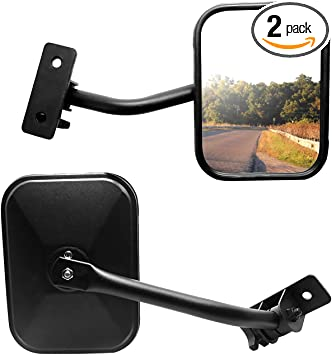 2pcs Side View Mirror for Jeep Wrangler JK JKU CJ TJ Rectangular Viewing Mirrors