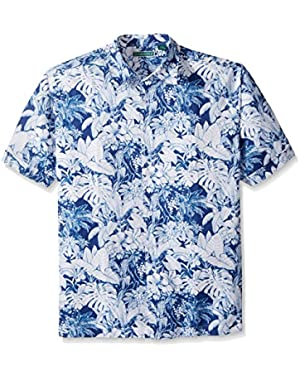 Men's Short Sleeve 100% Rayon Point-Collar Tropical Floral Print Shirt