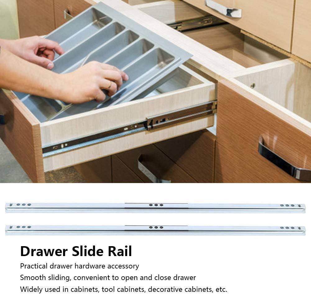 Duokon 2 pi/èces//Ensemble tiroir glissi/ère 450x17mm tiroir Acier Boule glissi/ère Rail mat/ériel Accessoire pour placards darmoire