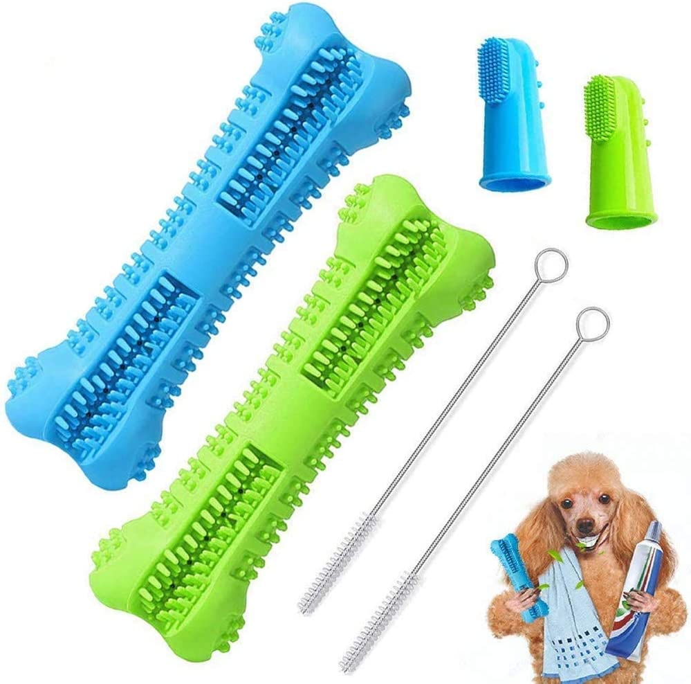 BAGEN Dog Toothbrush Stick 2 Pack - Dog Chew Toys for Small and Medium Breed - Doggie Dental Bone Brushing Food Safety Grade Natural Silicone pet Brush Bite-Resistant for Puppy Teeth Cleaning