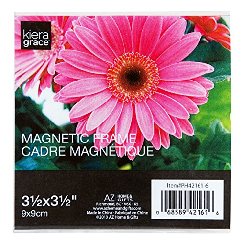 (Kiera Grace Magnetic Picture Frame with Square Frosted Edge, 3.5  by  3.5 Inch , Clear )