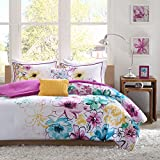 Purple and Blue Bedding Sets Intelligent Design Olivia Comforter Set Full/Queen Size - Purple Blue, Floral – 5 Piece Bed Sets – Ultra Soft Microfiber Teen Bedding for Girls Bedroom