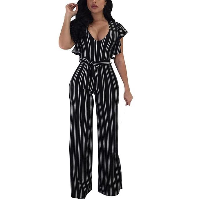 52cec5b1061a Longay Women Short Sleeves V Neck Stripes Prints Romper Jumpsuit Long  Trousers (S)