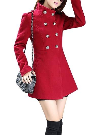 Yonglan Mujeres Medio Largo Moda Abrigo de Lana Doble Filas de Botones Chaqueta mezclada de Lana
