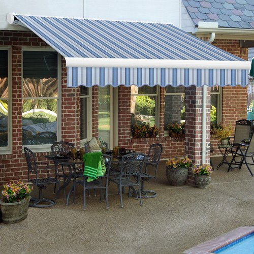 Awntech 24-Feet Key West Full-Cassette Right Motor with Remote Retractable Awning, 120-Inch Projection, Blue Multi Colored ()
