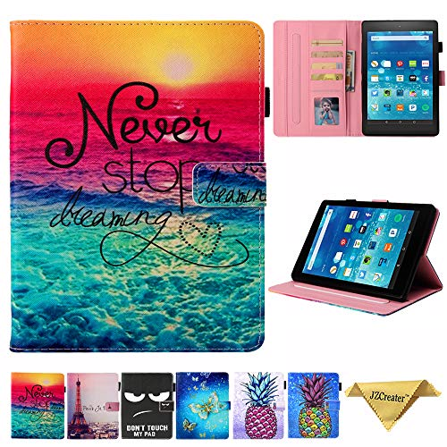 Kindle Fire HD 8 Case - JZCreater Folio PU Leather Smart Case Cover with Auto Wake/Sleep for All-New Fire HD 8 Tablet (8inch 2018 2017 2016 Release, 8th/ 7th / 6th Generation), Dream