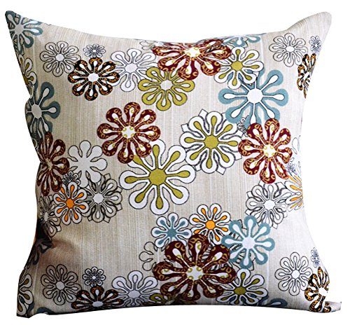 Multi-size Both Sides Floral Print Stuffed Throw Pillow LivebyCare PP Cotton Insert Filling Filled Cushion Pattern Zipper For Bed Room Sofa Couch Chair Back ()
