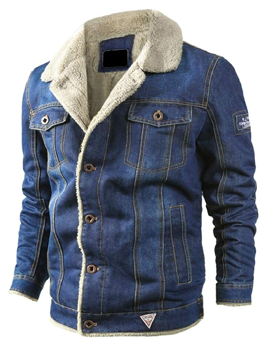 Light bluee QD-CACA Mens Winter Oversize Fleece Thick Single Breasted Warm Denim Jackets