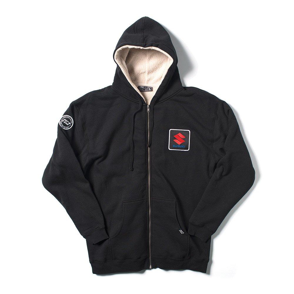 Factory Effex Unisex-Adult Suzuki Sherpa Zip-Up Sweat Shirt Black-Natural, Large 1 Pack 20-88424