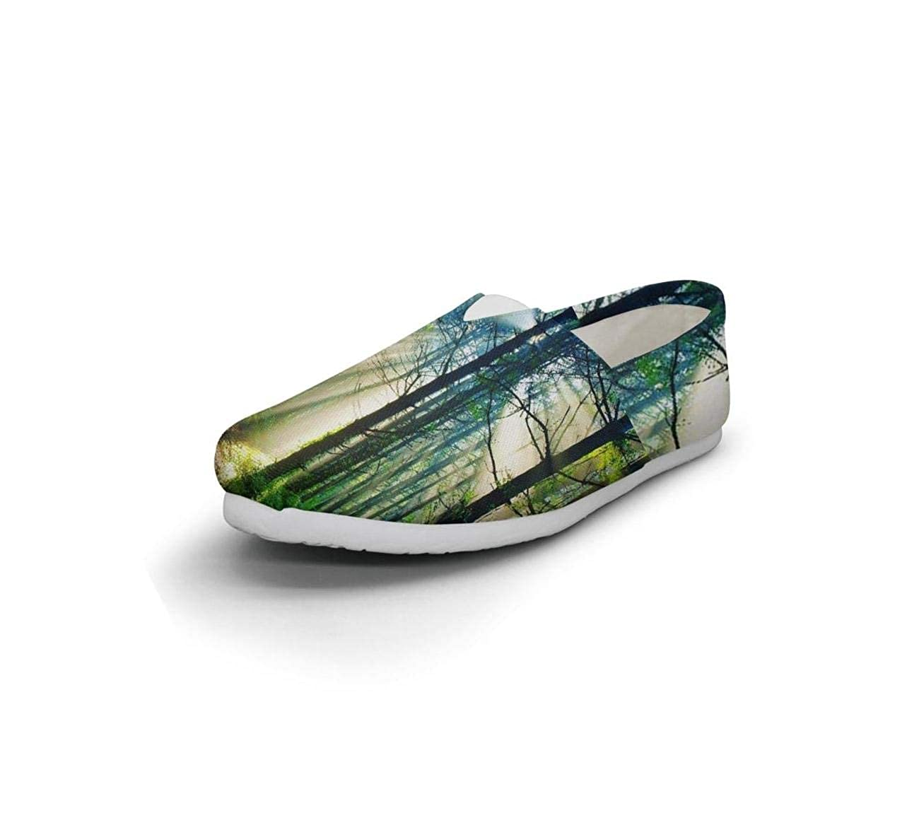 nkfbx Nature and Forest Casual Slip-On Sneakers for Women Travel