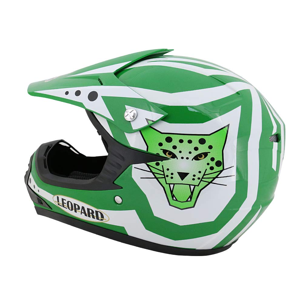 Green M MX Goggles ATV Quad Bike Helmet Leopard LEO-X17 Children Kids Motocross Helmet 51-52cm