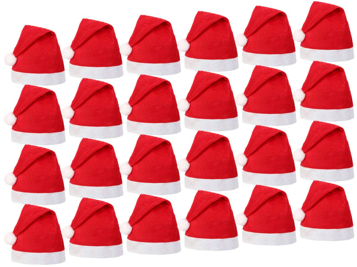 Red White made of Felt for Adults Men Women wm-32 Set of 12 Christmas Santa Hats with Pompom