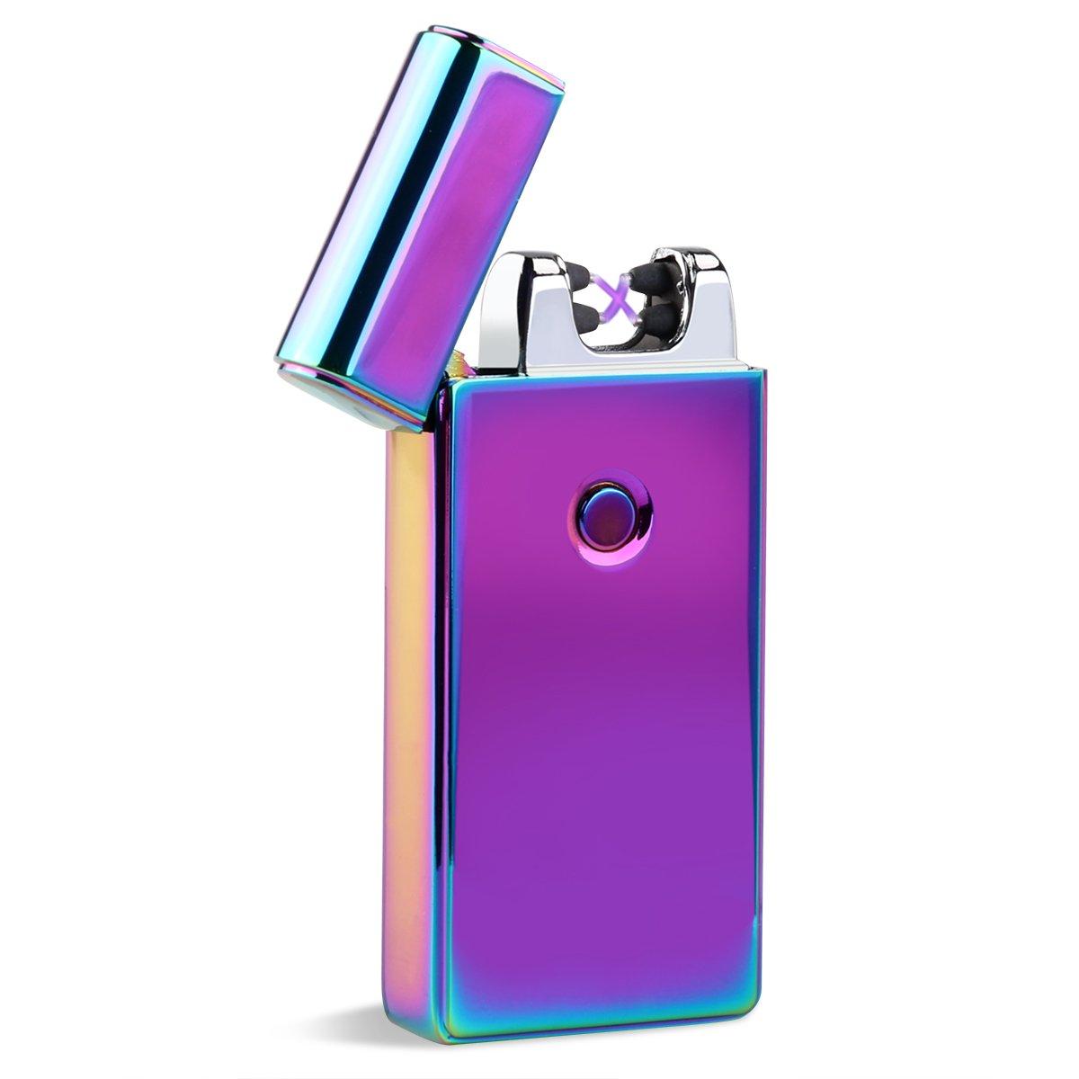 Électrique Rechargeable briquet Arc Dual USB sans flamme coupe-vent allume-cigare