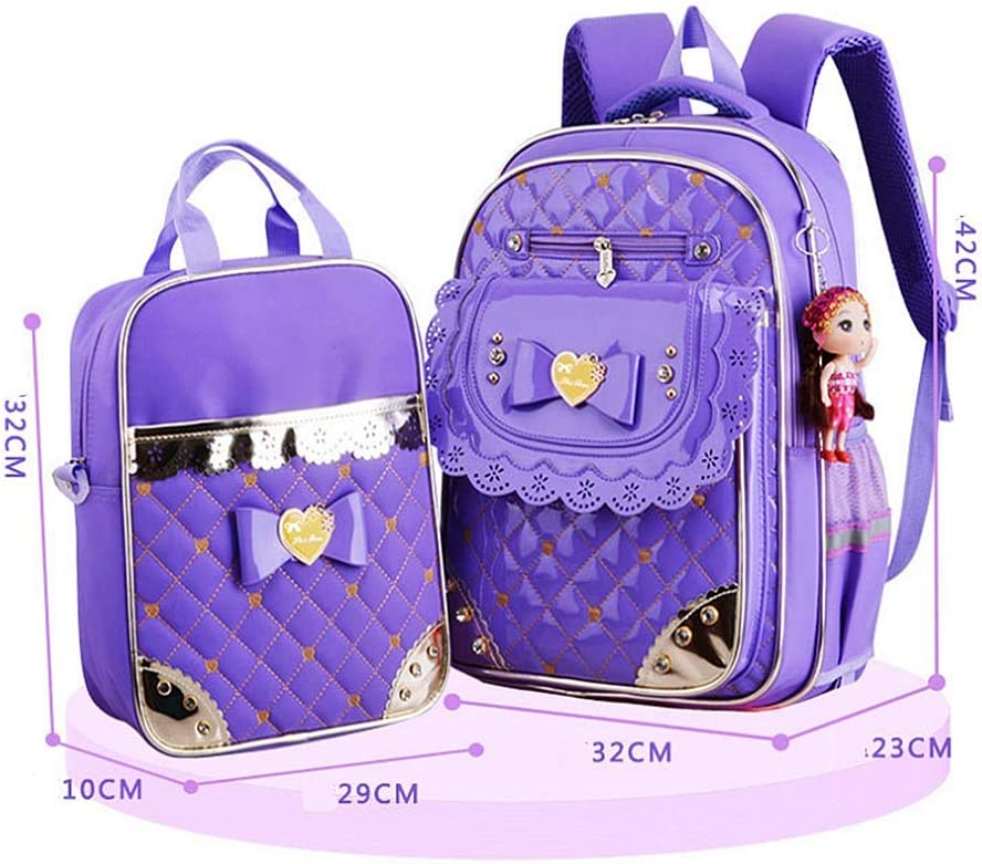 Kids Schoolbag Durable PU Leather 2 In 1 Cute Bowknot Style Casual Teens Girls Backpack Set Laptop Bag Primary Students Backpack Handbag Purse School Bookbag Set For Travel Daily Use Shoulder Bag For