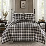 3pc Tan Brown Plaid Duvet Cover Queen Set, Cozy Warm Cabin Themed Bedding Checked Lumberjack Pattern Lodge Southwest Tartan Madras Cottage Hunting, Flannel Cotton