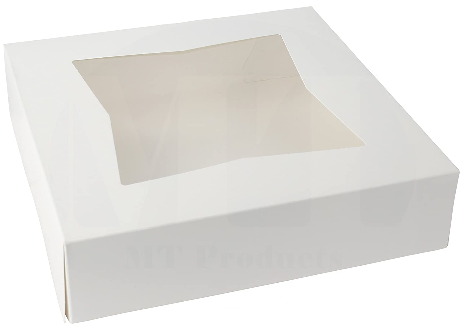 "10"" Length x 10"" Width x 2 1/2"" Height White Kraft Paperboard Auto-Popup Window Pie/Bakery Box by MT Products (Pack of 15)"