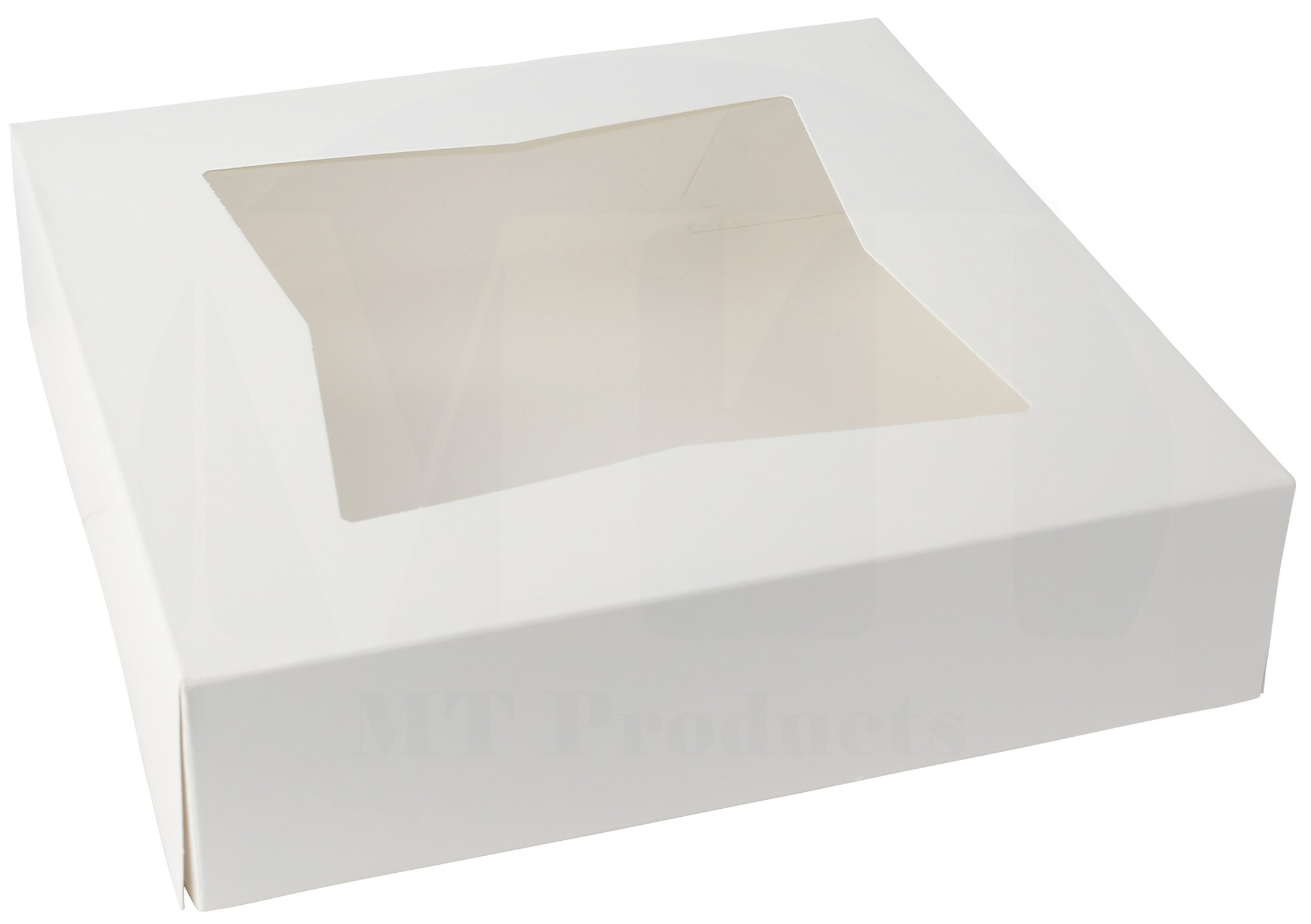 10'' Length x 10'' Width x 2 1/2'' Height White Kraft Paperboard Auto-Popup Window Pie/Bakery Box by MT Products (Pack of 15)