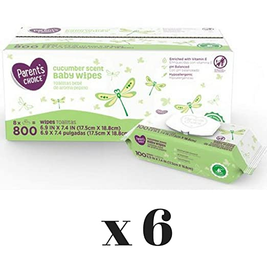 Amazon.com : Parents Choice Baby Wipes, (Cucumber Scent, 800 Count- 5 Box) : Baby