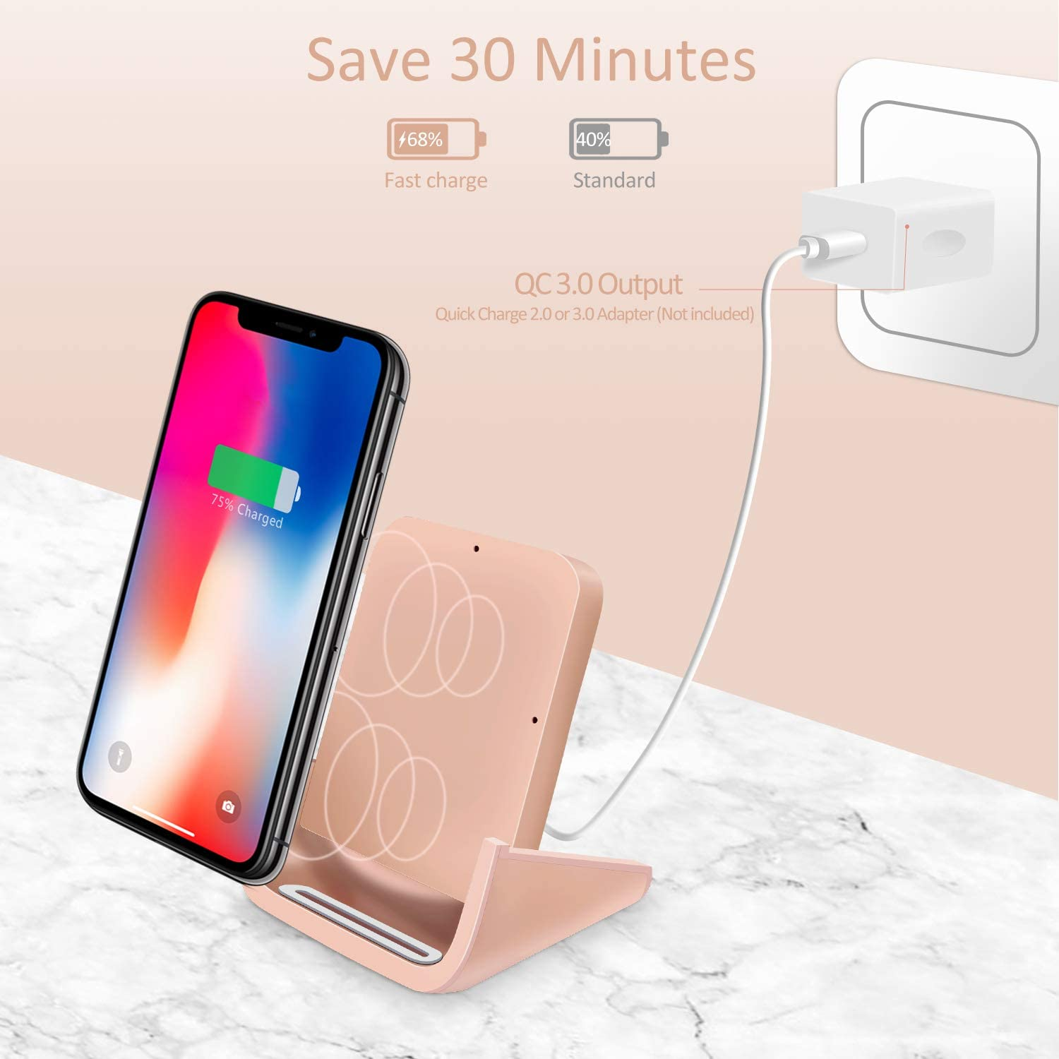 X 8 8 Plus 11 Pro Max No AC Adapter Xs Max Note 10 Note 9 and More XR XS 11 Pro Wireless Charger Stand Qi-Certified for iPhone 11 Rose Gold 10W Phone Dock Fast-Charging Galaxy S10 S9 S8