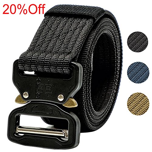 Black Nylon Swat Belt (Tactical Belt, 1.5 Inch Men's Web Army Military Quick Release Buckle Belt Black (Gift Package))