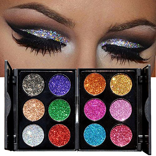 Huayang| 6-Color Sequins Diamond Glitter Shiny Eyeshadow Palette Eye Shadow Powder Makeup Cosmetics - Glitter Warehouse