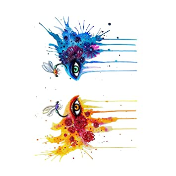046e98da18efe Amazon.com : WYUEN 5 Sheets Watercolor Eyes Women Body Art Tattoo Sticker  For Men Fake Waterproof Temporary Tattoo New Designs 10.5X6cm FB-001 :  Beauty