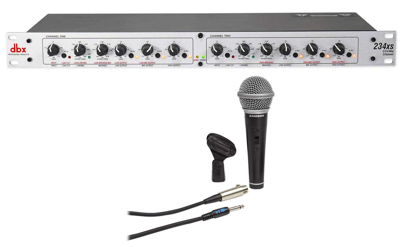 DBX 234XS Rack Mount Stereo 2/3/4-Way Crossover Sound Processor+Samson Mic