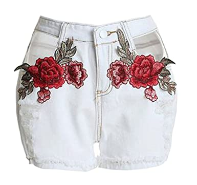 2ffc3f1680 XiaoTianXin-women clothes XTX Womens Sheath Cuffed Embroidery Distressed  Short Pants Denim Shorts White X