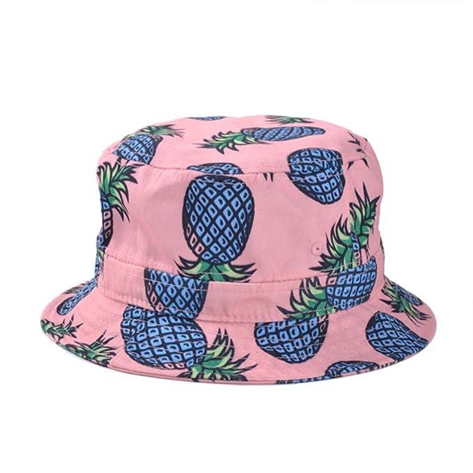 bcec46f52f5 BIBITIME Printed Pineapple Bucket Hat for Women Summer Hawaii Beach Sunhat  Visor (Head circumference