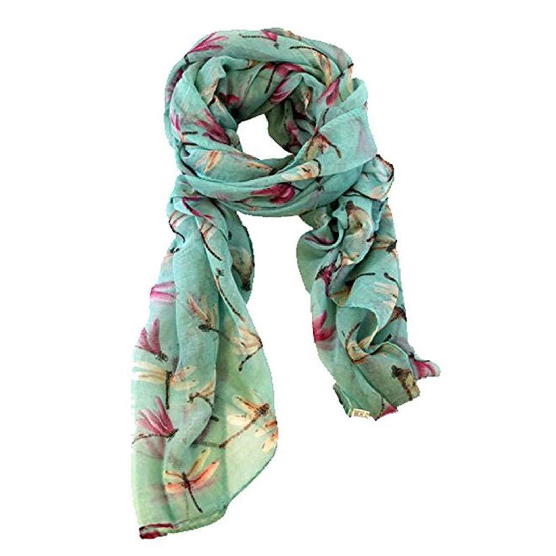 FRCOLT Women Ladies Long Cute Dragonfly Print Scarf Wraps Shawl Soft Scarves (74.831.5'', Green)