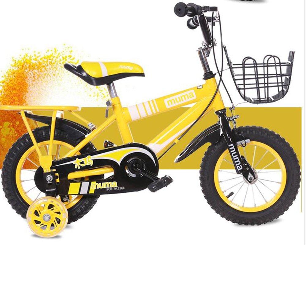 YANGFEI 子ども用自転車 子供用の自転車、トレーニングホイール付きユニセックス子供用自転車、様々なトレンディな機能、12,14,16および18インチ、おしゃれな男の子と女の子のための贈り物 212歳 B07DX24YT2イエロー いえろ゜ 16 inch