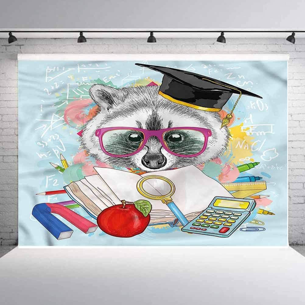 6x6FT Vinyl Photography Backdrop,Kids,Hipster Animal Student Raccoon Photoshoot Props Photo Background Studio Prop