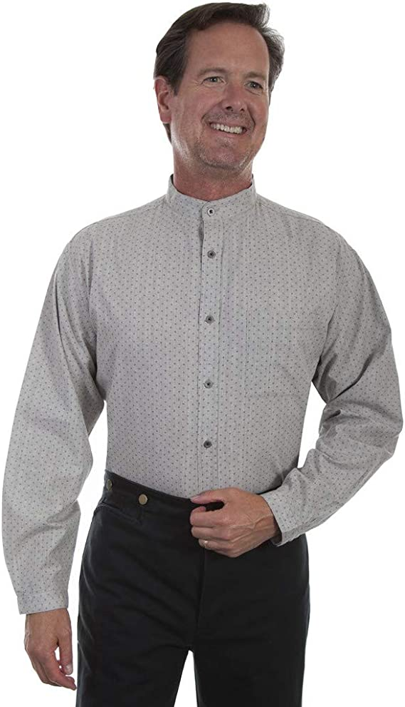 1920s Men's Dress Shirts, Casual Shirts Scully Western Shirt Mens Long Sleeve Print Button Stone F0_RW296 $58.76 AT vintagedancer.com