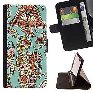 Diseño floral de la armadura del trullo Oriental- Modelo colorido cuero de la carpeta del tirón del caso cubierta piel Holster Funda protecció Para Apple iPhone 5 / iPhone 5S