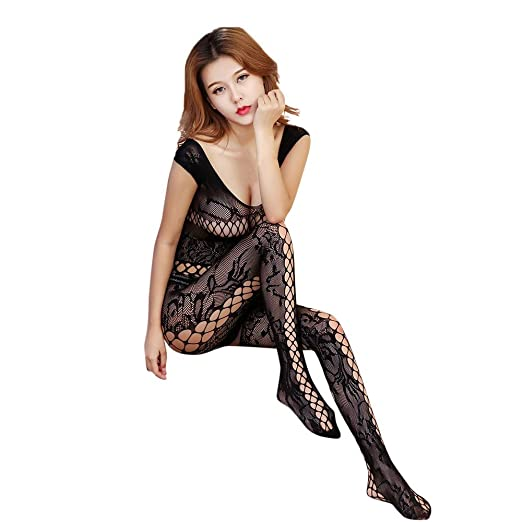 e020b7996 Amazon.com  Cywulin Women s Sexy Fishnet Crotchless Bodystocking ...