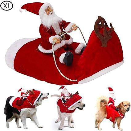 XXL Kyerivs Pet Christmas Costume Dog Cat Christmas Outfit Dog Christmas Costume Running Santa Claus Riding on Pet Dog Xmas Costume Apparel Winter Clothes for Medium Large Pet