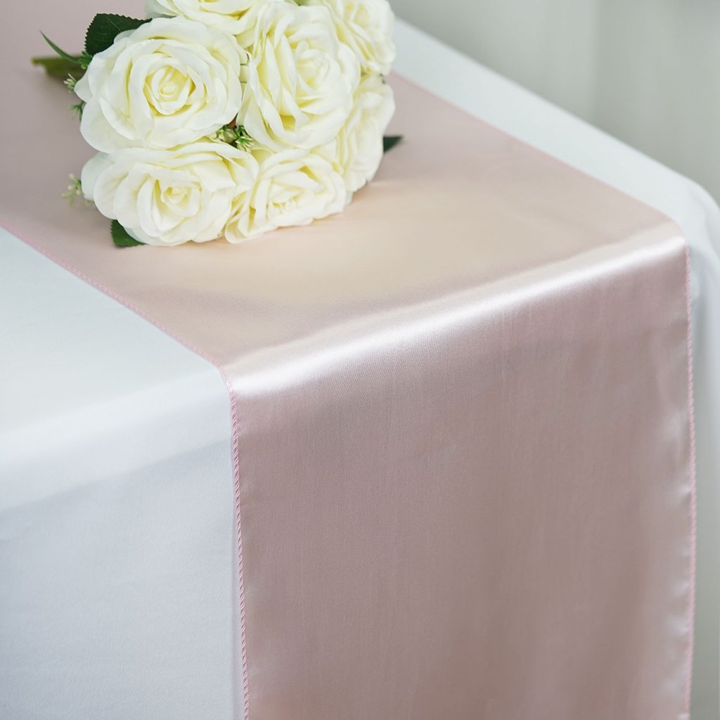Efavormart Premium Satin Table Top Runner for Weddings Birthday Party Fit Rectangle and Round Table 12'' x 108'' Blush