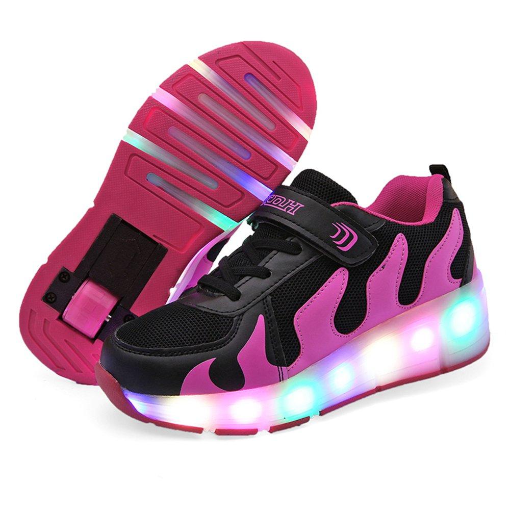 Girls Boys LED Light up Single Wheel//Double Wheels Roller Skate Sneakers