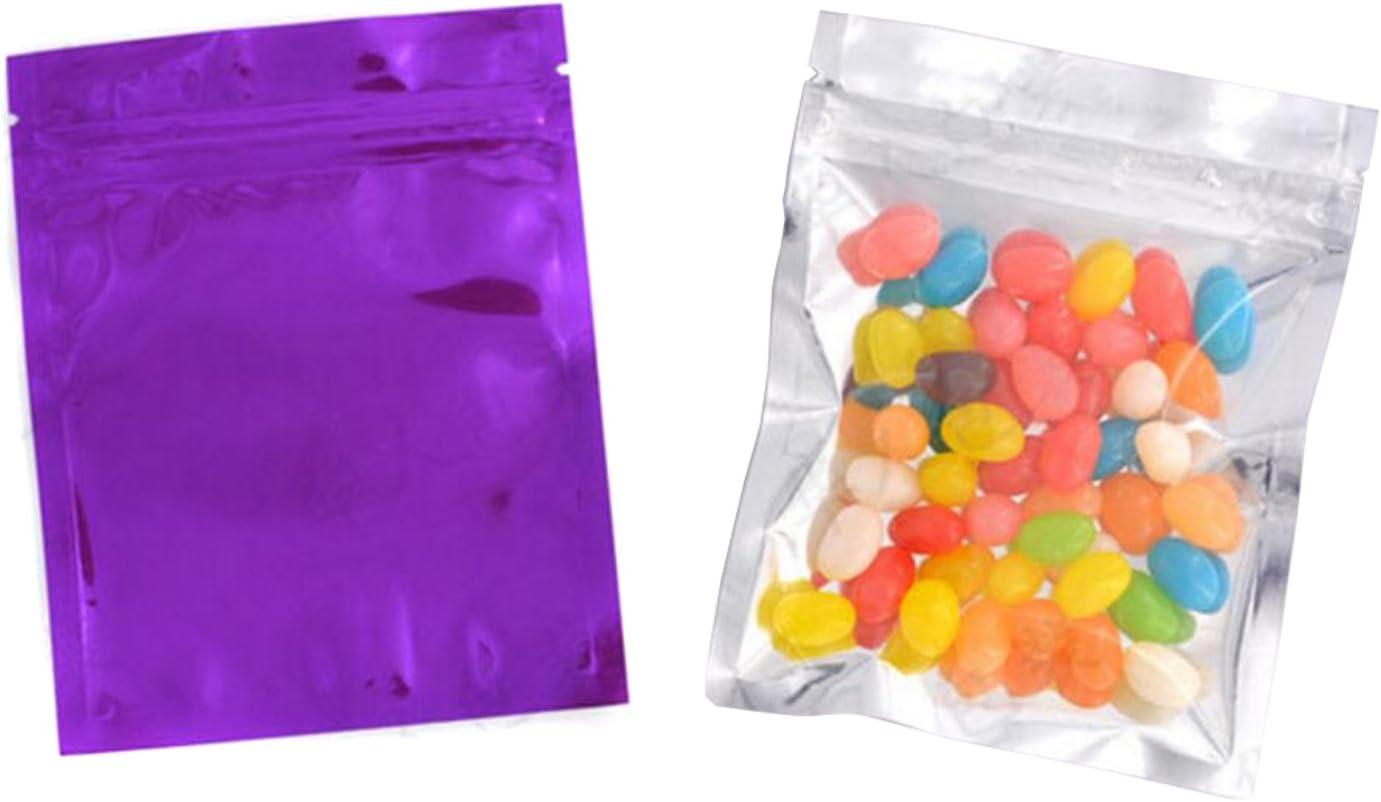 100 Pcs Reclosable 10.2x12.7 cm/4x5inch Clear Colorful Mylar Foil Flat Bag Sample Pouch Heat Sealable Aluminum Foil Bags Food Storage Coffee Candy Foil Grip Seal Wrap (Purple)