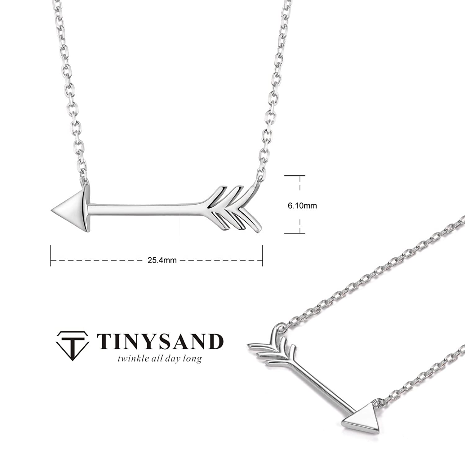 TINYSAND 925 Sterling Silver Cupid Arrow Necklace for Woman ZWDKjfH