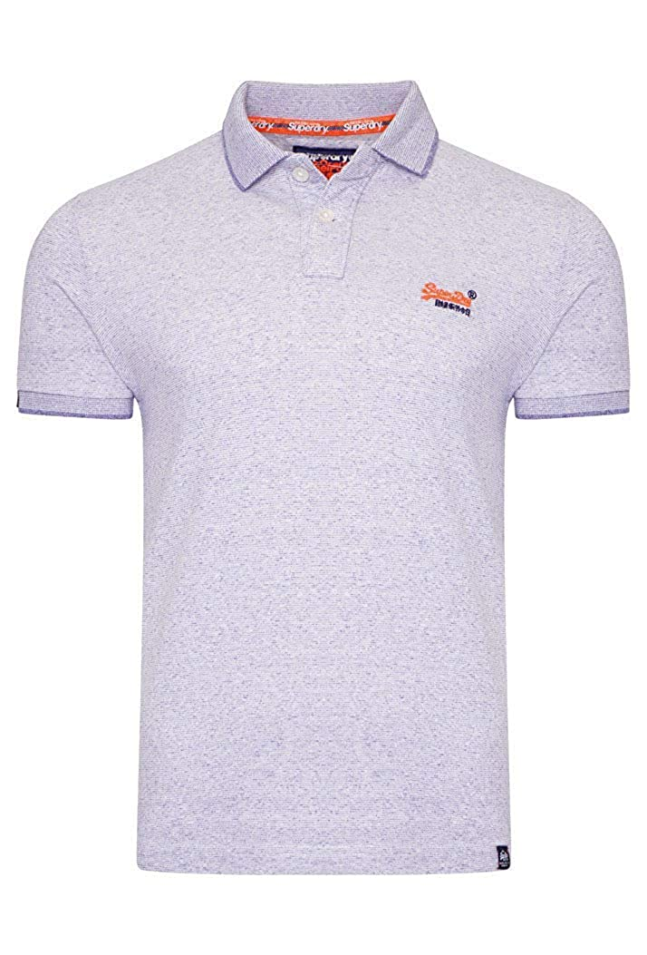 Superdry Hombre Naranja Etiqueta Jersey Polo - Optic Gris ...