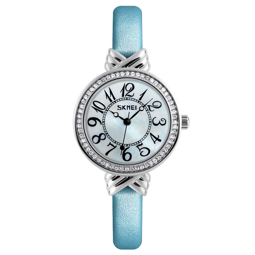 Luxury Brand Women Vintage Quartz Watch Fashion Female Crystal Leather Watch Girl Easy Reader Dress Watch (Light Blue) by Gosasa (Image #1)