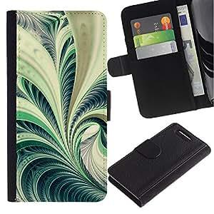 Planetar® Modelo colorido cuero carpeta tirón caso cubierta piel Holster Funda protección Para Sony Xperia Z3 Compact / Z3 Mini (Not Z3) / Z3 Mini (Not Z3) ( Arte Fern Forest Green Plant Naturaleza Espiral )