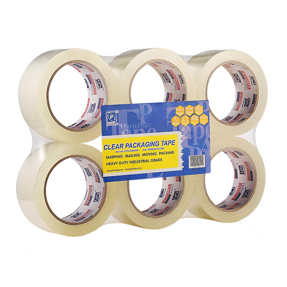 12 Rolls Clear Packing Tape 2.7mil Size 1.88 x 60 Yard Heavy Duty Commercia