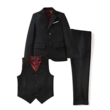 657380f70bd1 YuanLu Toddler Dresswear Boys  Suits Set with Coat Vest and Pants for Weddings  Black Size