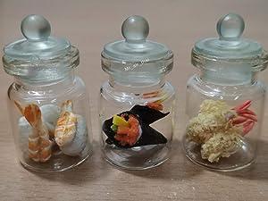 3pc Miniature Sushi Set Food Dollhouse Drink Japan Food Shshi Bento in Clear Glass Mini Bottle Fruit Food #MF095