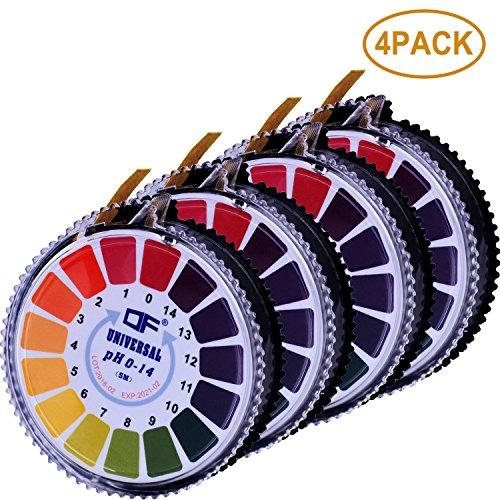 Aboat 4 Rolls pH Test Strips, Universal pH Test Paper Strips, pH Measure Full Range 0-14, 16.4 ft/Roll, Totally 65.6 ft ()