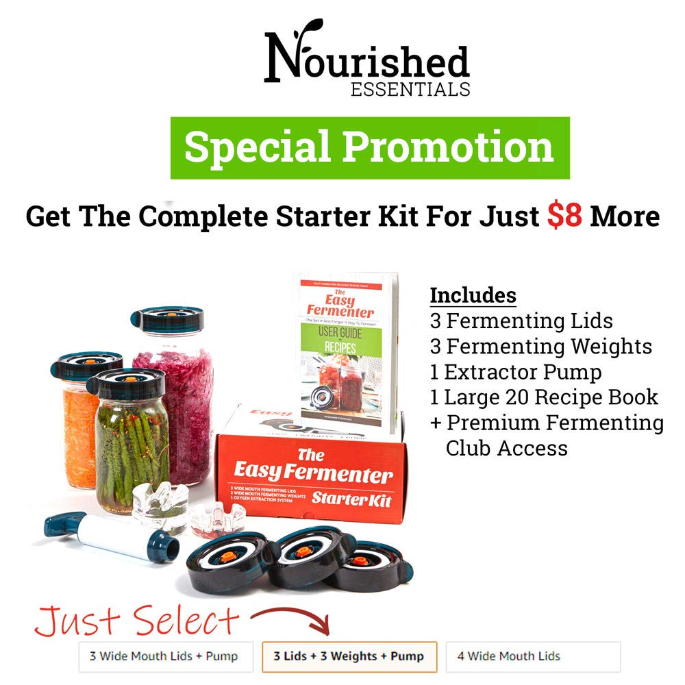 Easy Fermenter Wide Mouth Lid Kit: Simplified Fermenting In Jars Not Crock Pots! Make Sauerkraut, Kimchi, Pickles Or Any Fermented Probiotic Foods. 3 Lids(jars not incld), Extractor Pump & Recipes by Nourished Essentials